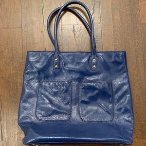 Blue Patent leather Jcrew tote